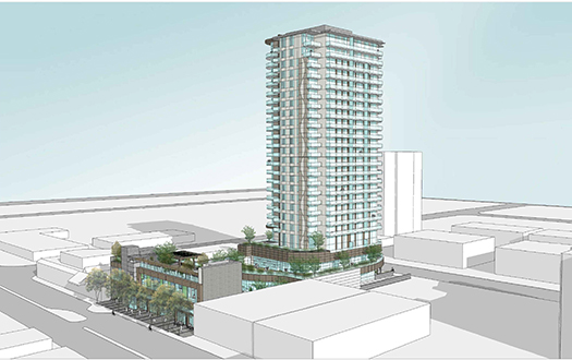 A concept drawing of the White Rock development – Johnston Rd. & George St.